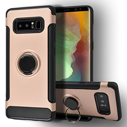 Jimmy Bumper Series] Ring Holder Kickstand Function [360 Degree Rotating Ring ] Grip Case Ultra Slim Thin Hard, compatible with car mount Samsung galaxy Note 8 Cover (RoseGold) ()