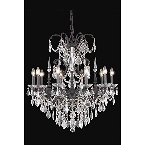 Elegant Lighting 9710D30DB/SS Athena Collection 10-Light Hanging Fixture with Swarovski Spectra Crystals, Dark Bronze Finish