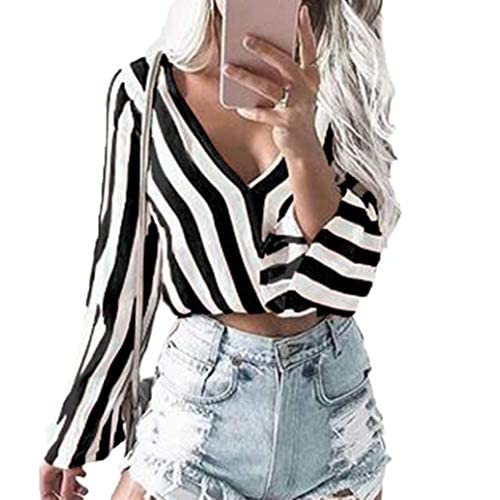 huge selection of 56d0e 60dd4 Schlussverkauf Yutila Damen Crop Top Bluse Tiefer V ...