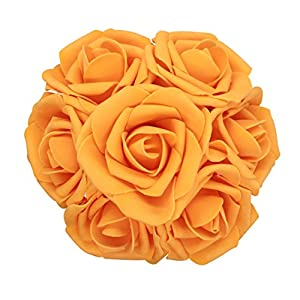 AnParty 50pcs Artificial Flower,Real Touch Artificial Foam Roses Decoration DIY for Wedding Bridesmaid Bridal Bouquet Centerpieces Party (50, Orange) 15