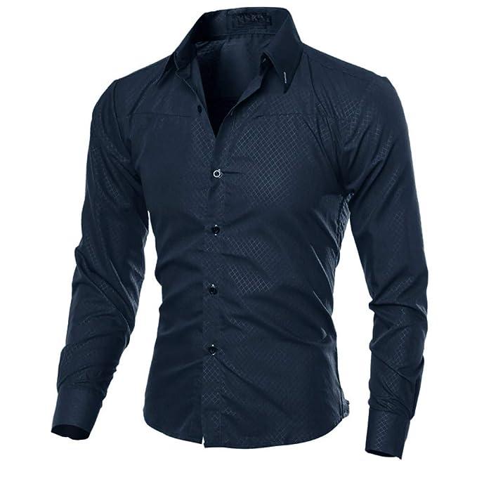 JURTEE Camisa Cuadros Hombre Moda Solid Color Camiseta De Solapa ...