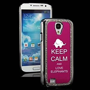 Hot Pink Samsung Galaxy S4 S IV i9500 Rhinestone Crystal Bling Hard Back Case Cover KS292 Keep Calm and Love Elephants