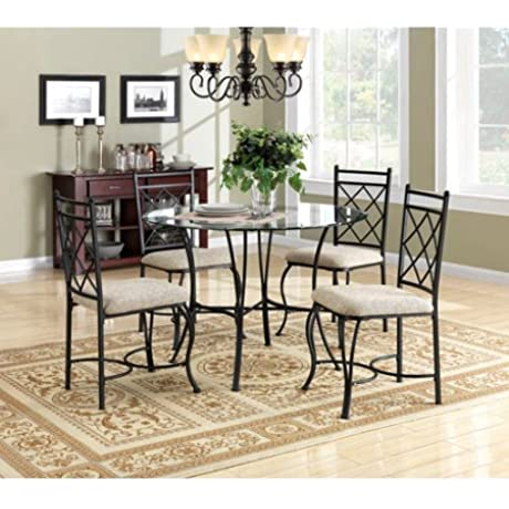 5 Piece Glass Top Metal Dining Set Clear Glass Topped Metal Table And Four Matching Upholstered Chairs