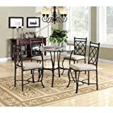 5 Piece Glass Top Metal Dining Set, Metal and Microfiber Fabric Upholstered Chairs