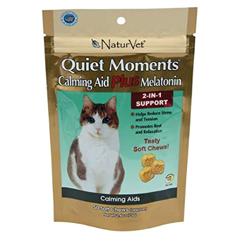 NaturVet 50 Count Quiet Moments Calmante Cat Plus Melatonina Suave Masticar