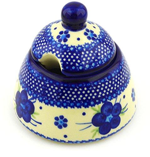Polish Pottery 11 oz Sugar Bowl (Bleu-belle Fleur Theme) + Certificate of Authenticity