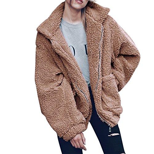 - Women Coat, Shybuy Women Thick Warm Winter Coat Faux Fur Parka Overcoat Jacket Outwear with Pocket (M, Khaki)