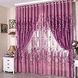 Modern Floral Peony Voile Curtain Living Room Drapery Valances Window Tulle Curtain?Purple?