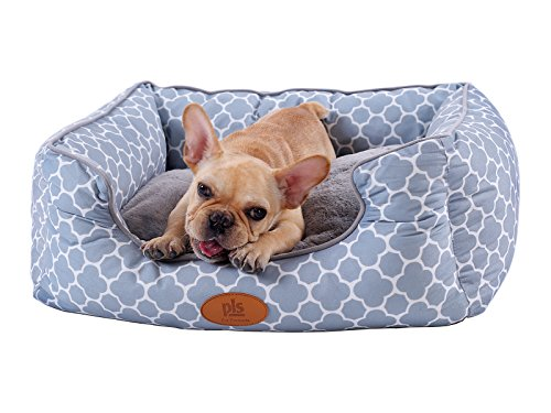 [NEW] PLS Birdsong Trellis Bolster Extra Small Dog Bed, Pet Bed, Cat Bed, Light Blue & Gray, Extra Small, Removable Cover, Completely Washable, Dog beds for extra small dogs