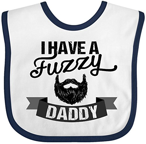 Inktastic I Have a Fuzzy Daddy Beard Baby Bib White/Navy