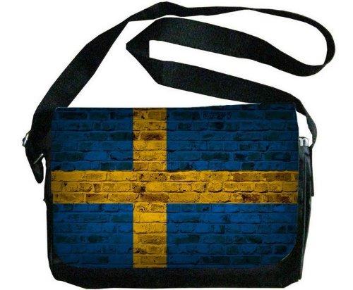 スウェーデン国旗レンガ壁デザインメッセンジャーバッグ   B00F1YD246