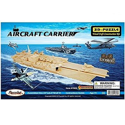Blue ELF ® 3D Jigsaw Woodcraft Kit Wooden Toy Puzzle Model--Aircraft Carrier