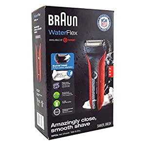 Braun WaterFlex WF2s Wet and Dry Electric Shaver with Swivel Head, Red