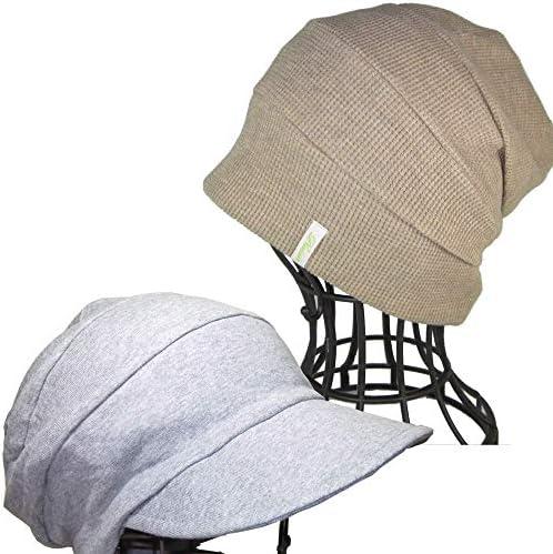 医療用帽子 オーガニック 抗がん剤帽子/段々ワッチベージュ杢と段々キャスケット杢グレー