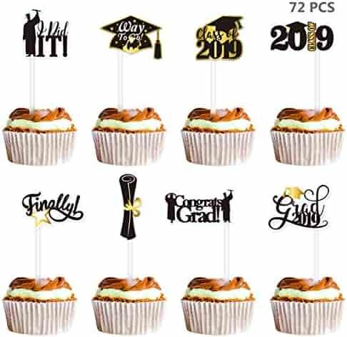 Amosfun 72PCS Graduation Cupcake Toppers 2019 Graduation Party Decorations Cake Topper Picks Toothpick Toppers Class of 2019 Graduation Party Supplies