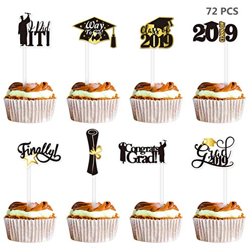 College Party Pics (Amosfun 72PCS Graduation Cake Toppers 2019 Congrats Grad Cake Topper Picks Black and Gold Graduation Party Supplies for High School,College 2019 Graduation)
