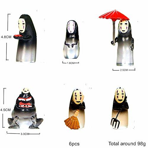 Kimkoala No Face Men Figure, 6 PCS Japan Cartoon Miyazaki Hayao Spirited Away Faceless Men Action Figure Collection Model Doll Toy Gifts