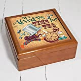 Alice in wonderland Time For Tea Aw04 Mad Hatter Wooden Trinket Box Keepsake Jewellery Accessory Storage Gift by Krafty Gifts