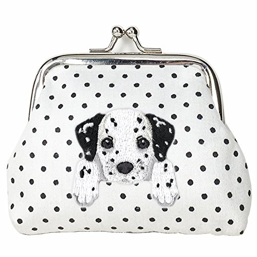 Dalmatian Embroidery ([ DALMATIAN ] Cute Embroidered Puppy Dog Buckle Coin Purse Wallet [ White Polka Dots ])