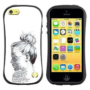 """Hypernova Slim Fit Dual Barniz Protector Caso Case Funda Para Apple iPhone 5C [Texto del bosquejo del lápiz Mujer Leer""""]"""