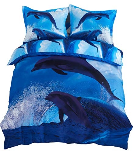 Cozyvie Dolphins Jumping out of Blue Water Print Polyester 3D Bedding Set with Duvet Cover,Flat Sheet and Pillowcases,Twin/Full/Queen Size,Blue,No Comforter (Extra Long Twin) (Dolphin Twin Bed Set)