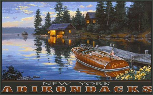 Northwest Art Mall New York Adirondacks Classic Chris Craft on Lake Wall Art by Darrell Bush, 11 by 17-Inch