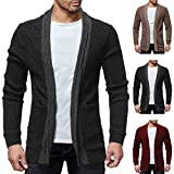 iYYVV Mens Fashion Solid Knit Cardigan Sweater