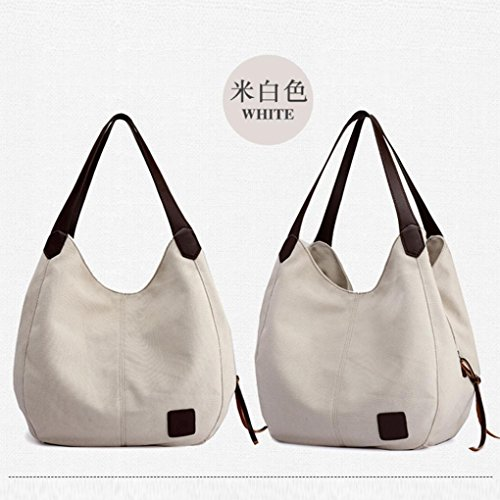 borsa tracolla HASP e Messenger Bag a Bag Longra borsa materiale chiusura benna hangbag Bianco tinta unita Tote cerniera superiore Tela qx6zZ1S