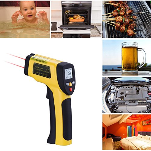 Chocolate Standard Battery - Infrared Thermometer Temperature Gun 1022D(-58°F to 1202°F) Non-Contact Dual Laser Digital Surface Instant-Read with Adjustable Emissivity(0.1-1.0)& Max Measure for Meat Chocolate Pool
