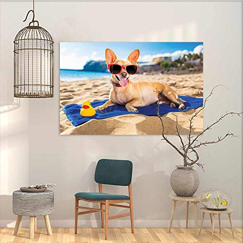Oncegod Canvas Wall Art Sticker Murals Funny Chihuahua Dog at The Ocean Shore Sunbathing Smiling Coastal Charm Print Modern Decorative Artwork Sand Brown Light Blue W47 xL31