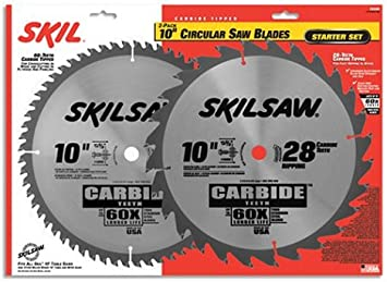 Skil 75342 10 Inch Saw Blade Combo Pack With 60 Tooth Crosscutting Blade And 28 Tooth Ripping Blade Table Saw Blades Amazon Com