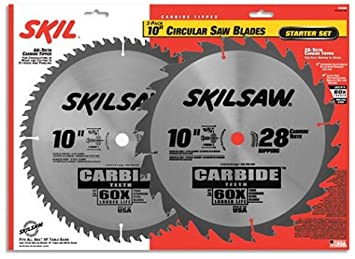 SKIL 75342 10 Inch Saw Blade Combo Pack With 60 Tooth Crosscutting Blade  And 28