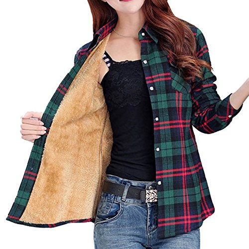 Totoship Long Sleeve Plaid Flannel Warm Shirt Fleece Lined Blouse Up,Green Red, ( US 6=Asia XXL )
