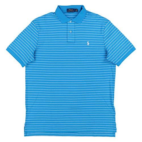 (Polo Ralph Lauren Mens Striped Interlock Polo Shirt (L, Aqua))