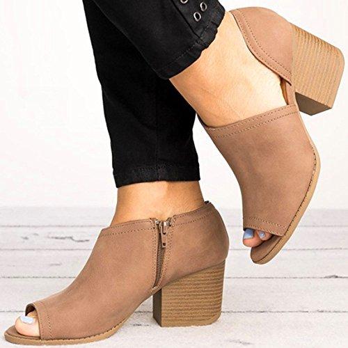 Sandalia Mujere BUIMIN - Zapatos Peep Toe Con Cremallera Lateral Mujeres Transparente Tacón De Gamuza Boca De Pescado Color Negro/Caqui/Marrón Talla 36/37/38/39/40/41/42/43 (39, marrón)