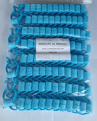 Noseclips - Foam Padded - BiotronicsBiz Noseclipz - Bag of 100 (Blue/Green) Nose Clips by Biotronics by Noseclipz (Image #1)