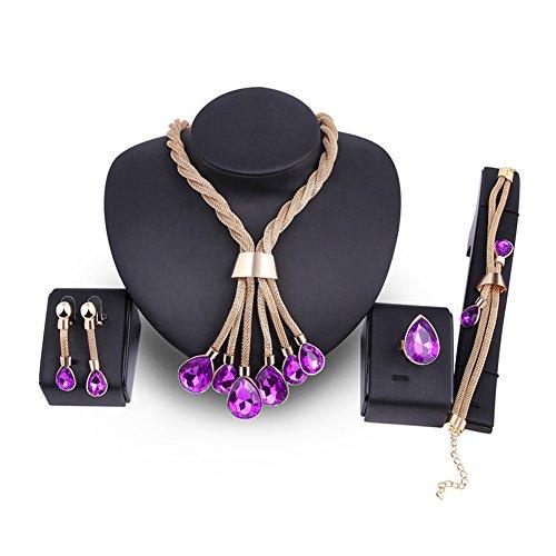 18K Glod Tone Water Drop Tassel Purple Necklace and Earring Set Bracelet Ring Jewelry Sets for Women Purple Necklace Earrings