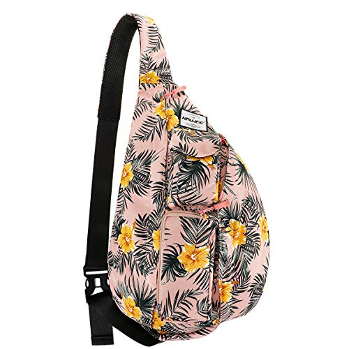 HAWEE Chest Sling Shoulder Bag Hiking Backpack Sports Travel Crossbody Daypack for Women, Indipink Orange + Yellow Flower ()