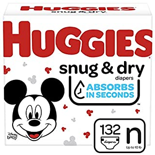 Huggies Snug & Dry Baby Diapers, Size Newborn, 132 Ct
