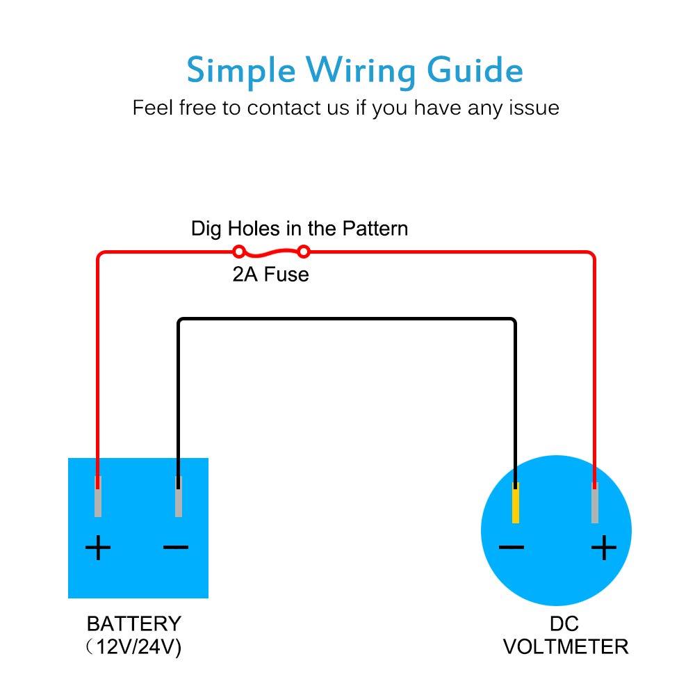Motorcycle Voltmeter Wiring Diagram Trusted Schematics Digital Volt Amp Meter Amazon Com Mictuning Oled Gauge Dc 8 60v Battery 12