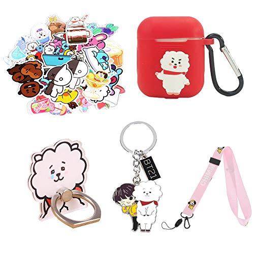Chutoral Kpop BTS Bangtan Boys, 24 Pcs BTS Stickers + BTS Stand + BTS Keychain+ BTS Earphone Case + BTS Lanyard Gift Set for Army(H06)