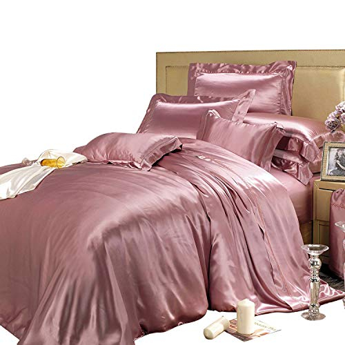 THXSILK 19 Momme Silk Duvet Cover Set 4 Piece, Silk Sheets, Luxury Bedding Sets - Ultra Soft, Machine Washable, Durable - 100% Top Grade Mulberry Silk, Queen Size, Charm Pink ()