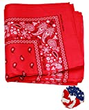 One Dozen Cowboy Bandanas Paisley 22 inch, Red with Hair Scrunchie