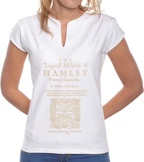 latostadora - Camiseta Shakespeare Hamlet 1603 para Mujer Blanco M: BiblioTee: Amazon.es: Ropa y accesorios