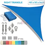 Patio Paradise 10' x 10' x 14' Sun Shade Sail with 6 inch Hardware Kit, Blue Right Triangle Canopy Durable Shade Fabric Outdoor UV Shelter - 3 Year Warranty - Custom Size Available