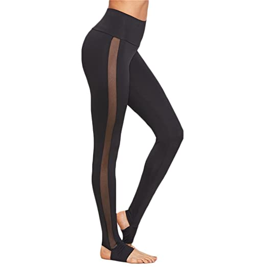 9bac2ed985229 Image Unavailable. Image not available for. Color: Ankola Women Fashion  Sexy High Waist Mesh Panel Skinny Leggings Workout Yoga Pants (Black,