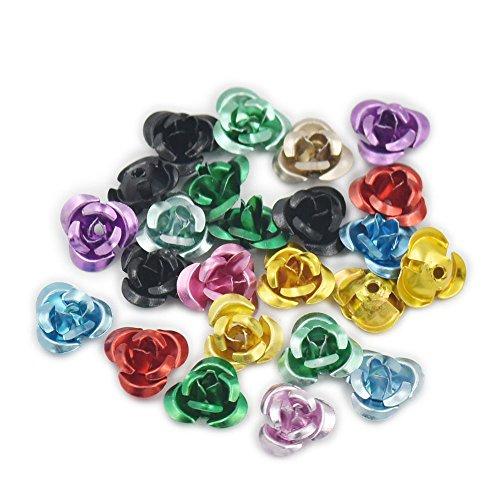 "500 pcs 6mm 1/4"" Metal Aluminum Tiny Rose Flower Bead Jewelry Making Craft DIY Mixed Colour"