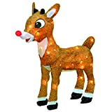 ProductWorks 18-Inch Pre-Lit 3D Rudolph with Bright Red Flashing Nose Christmas Yard Art, 35 Lights