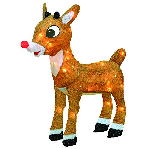 ProductWorks 18-Inch Pre-Lit 3D Rudolph with Bright Red Flashing Nose Christmas Yard Decoration, 35 Lights (Led Reindeer)