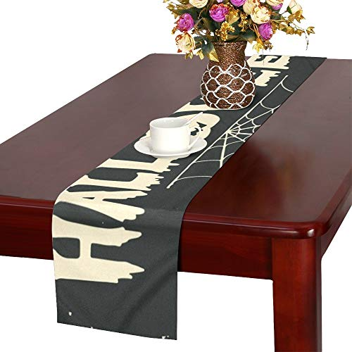 Hand Drawn Happy Halloween Lettering Pumpkin Table Runner, Kitchen Dining Table Runner 16 X 72 Inch for Dinner Parties, Events, Decor ()